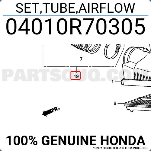 Genuine Honda 04010-R70-305 Air Flow Tube Set
