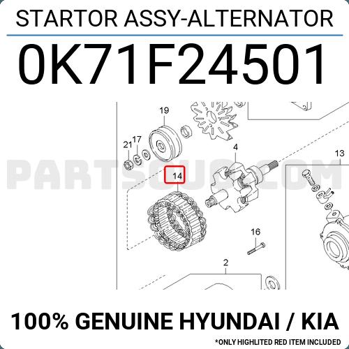0k71f24501 Hyundai    Kia Startor Assy-alternator Price  47 72   Weight  1 18kg - Partsouq