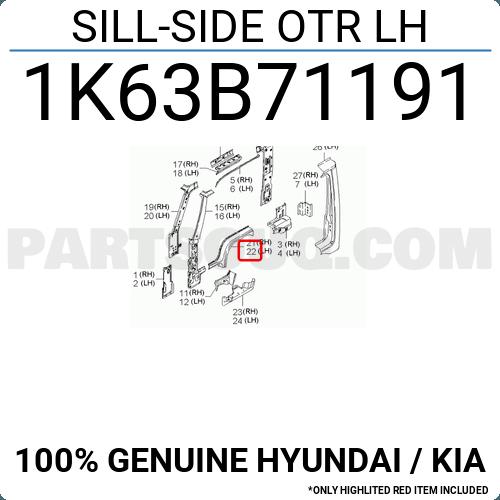 1k63b71191 Hyundai    Kia Sill-side Otr Lh  Price  37 73   Weight  1 02kg - Partsouq