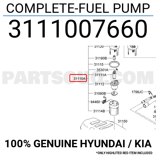 3111007660 Hyundai    Kia Complete-fuel Pump  Price  150 93   Weight  1 29kg - Partsouq