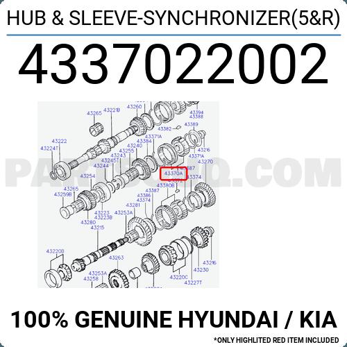 Genuine Hyundai 43370-22002-A Hub and Sleeve Synchronizer