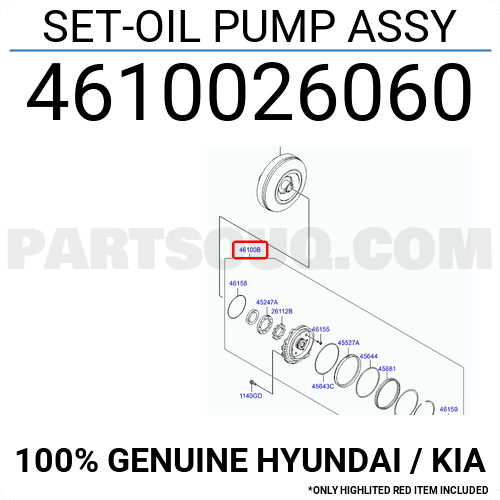 4610026060 for HYUNDAI Genuine OEM 46100-26060 SET-OIL PUMP ASSY