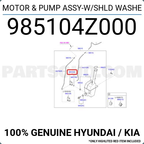 Kia 98510-2W500 Motor /& Pump Assy-W//