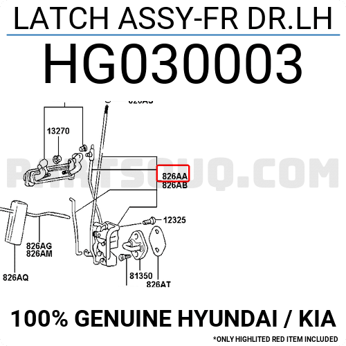 Hg030003 Hyundai    Kia Latch Assy-fr Dr Lh  Price  22 35   Weight  0 4kg