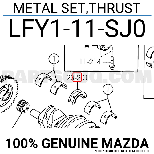 L3Y211SJ0 Genuine Mazda METAL SET,THRUST L3Y2-11-SJ0