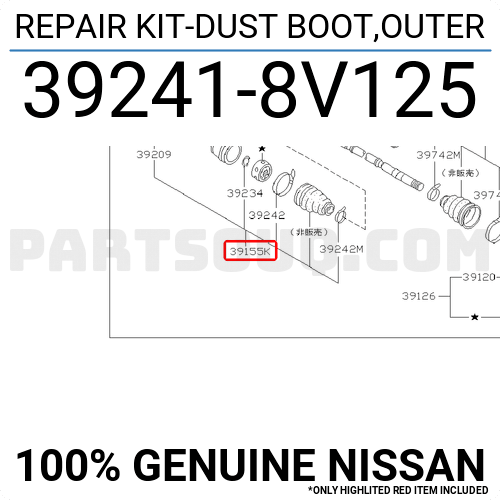 Genuine Hyundai 49509-38J00 Axle Wheel Side Boot Kit