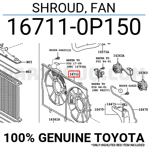 Genuine Toyota 16711-0P150 Fan Shroud