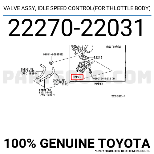 IDLE SPEED CONTROL TOYOTA GENUINE 2227022031 VALVE ASSY FOR THLOTTLE BODY