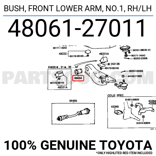 For Toyota 4806127011 Front Arm Bushing for Front Arm Shocks ...