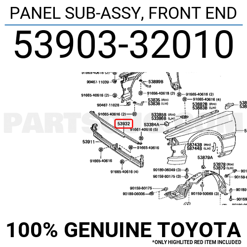 5390332010 Toyota Panel Sub-assy  Front End  Price  103 20   Weight  1 1kg - Partsouq