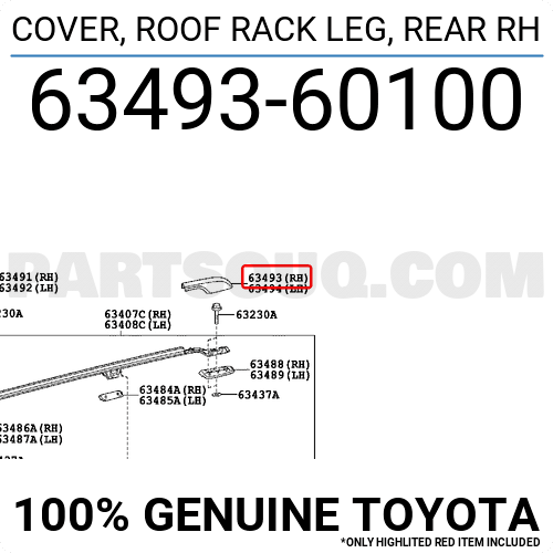 63493-60080-C0 Toyota Cover roof rack leg rear rh 6349360080C0 New Genuine OE