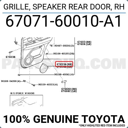 Toyota 67071-60010-A1 Door Grille