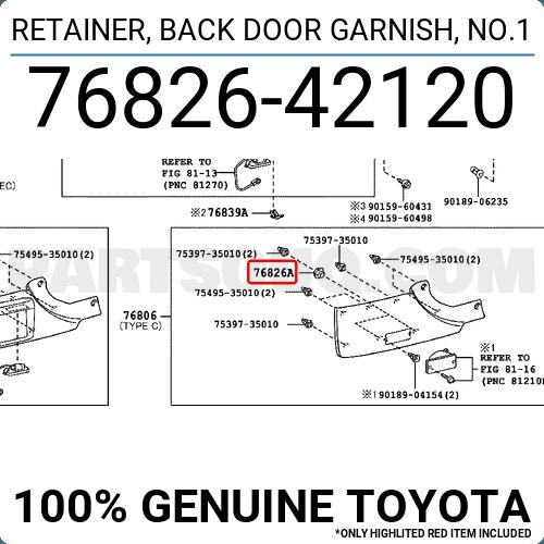 Toyota 76826-42120 Door Garnish Retainer