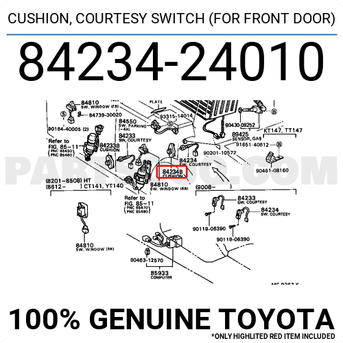 Genuine Toyota Cushion Courtesy Switch 84234-24010