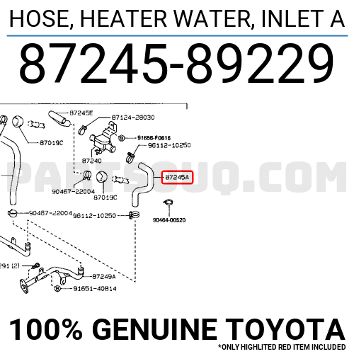 Toyota 87245-89229 Water Heater Inlet Hose