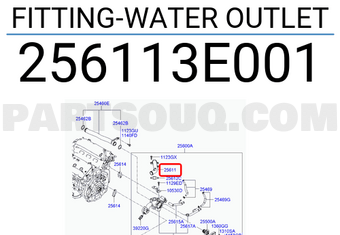Genuine Hyundai 25611-3E001 Water Outlet Fitting