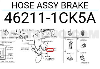 Genuine Nissan OEM 46211-1LB2A HOSE ASSY-BRAKE 462111LB2A