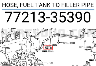 mediatime.sn 7721335380 Genuine Toyota HOSE FUEL TANK TO FILLER ...