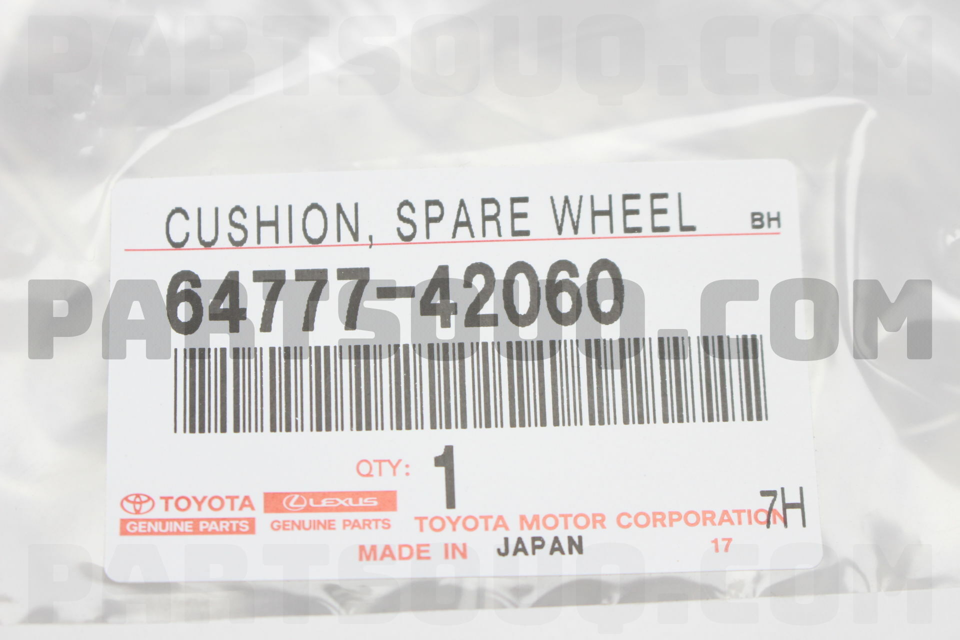 6477742060 Toyota CUSHION, SPARE WHEEL Price: 67.81$, Weight: 0.53kg ...